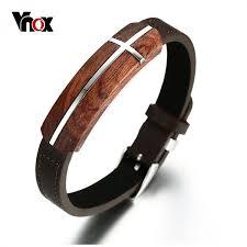 bracelet for vnox retro rosewood mens bracelet genuine leather bracelet