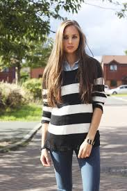 striped jumper black and white jeans country style look fashion