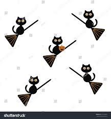 halloween background black cats halloween cute black cats pumpkin broomstick stock vector
