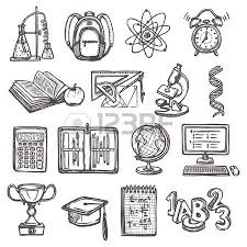 retro education sketch icons set of notebook ruler