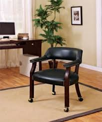 Bankers Chair Cushion Chair With Casters Black