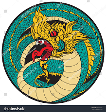 hand drawn thai dragon circle thailand stock vector 574640344