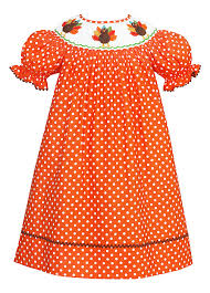 anavini baby toddler orange white dots smocked