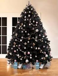 and silver ornaments pop out on the black foliage of the