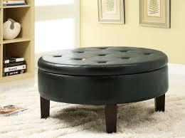 round leather storage ottoman coffee table u2013 large capacity