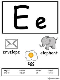letter e alphabet flash cards for preschoolers myteachingstation