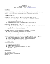 Resume Samples With Summary by Brilliant Summary And Experienced Civil Engineer Responsibilities