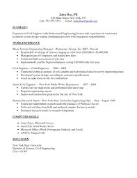 Intern Responsibilities Resume Brilliant Summary And Experienced Civil Engineer Responsibilities