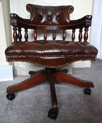 brown real leather mahogany swivel chesterfield captains