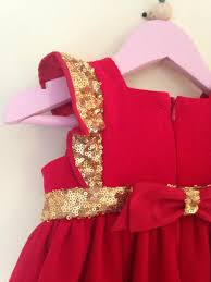 u0027s christmas dress baby u0027s red cotton and gold sequin