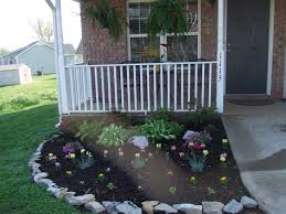 adorable flowerbed in front of the house exterior designs aprar