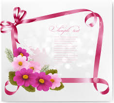 ribbon with flower greeting card vector 02 vector card free