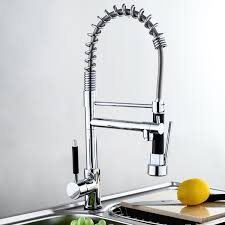 features huntington brass pulldown kitchen faucet with sprayer