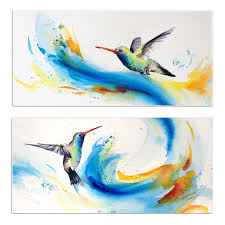 Skills Artist Hand painted High Quality Modern Bird Canvas