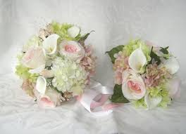 wedding flowers pink 4 silk bridal bouquet pink and creme and calla