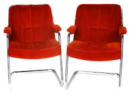 pair of mid century cantilever chromcraft chairs