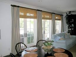 bamboo blinds and grey curtain for traditional family room