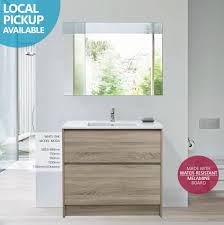 moda 900mm white oak timber wood grain floor standing vanity