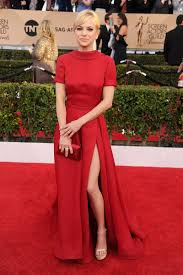 anna faris formal red carpet dress sag awards 2016 short sleeves
