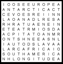 continents word search puzzle educational activity
