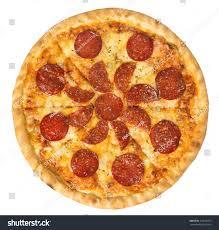 Beautiful Arrangement Overhead Studio Shot Isolated Pepperoni Pizza Stock Photo