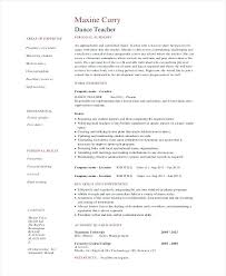 Dance Resume Template For College Resume Dance Teacher Resume Examples Sample In Word Dance