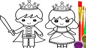 how to draw little king and queen coloring pages drawing learn