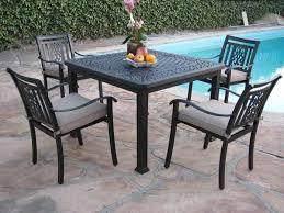 heaven cast aluminum 5 piece square dining set u2013 grand patio furniture