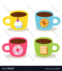 Cute Coffee Cups Cute Cup Coffee Bekery Royalty Free Vector Image