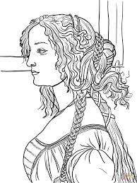 portrait of simonetta vespucci by sandro botticelli coloring page