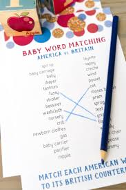 american and british word match baby shower game hey let u0027s make