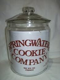 kitchen collectables store vtg springwater cookie company 14 cookie jar glass glass lid