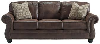 faux leather queen sofa sleeper with rolled arms and nailhead trim