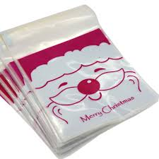 santa claus merry christmas cookie candy party gift bags with self