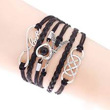 girls leather bracelet images Muse creations charm multilayer leather bracelets for girls black jpg