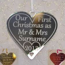 Baby S First Christmas Bauble Ebay by Our First Christmas As Mr U0026 Mrs Personalised Tree Decoration Heart