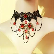 red crystal choker necklace images Choker red crystal necklace jpg