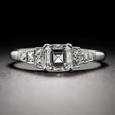 1 02 carat asscher cut diamond art deco engagement ring gia h vs2