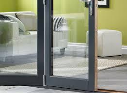 Bi Fold Doors Exterior by Ultra 4 8m Approx 16ft Grey Aluminium U0026 Oak Triple Glazed Vufold