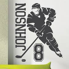 removable custom name u0026 number hockey player vinyl wall decals