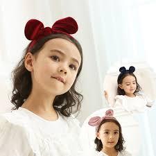 retro hair accessories velvet rabbit ears hairband kids bowknot hair band hoop fashion