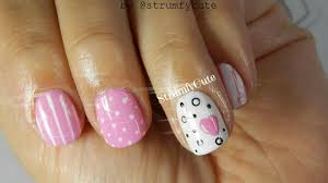 tutorial modele unghii diy easy heart u0026 polka dot nail art youtube