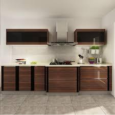kenya wood grain pvc modular kitchen cabinet oppein one stop