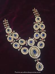 sapphire necklace with diamonds images Diamond sapphire necklace design south india jewels jpg