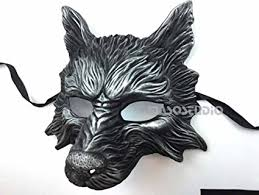 black silver wolf mask animal masquerade