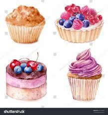 Cherry Cupcake Invitation Card Royalty Set Watercolor Cupcakes Hand Drawn Illustration Stock Illustration