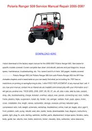 polaris ranger 500 service manual repair 2005 by shaniqua ector