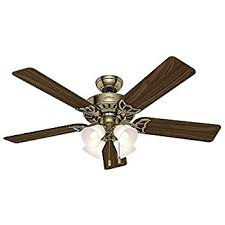 antique brass ceiling fan hunter fan 52 ceiling fan in brushed nickel with 4 light fixture
