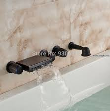 Tub Faucet With Handheld Shower Retro Oil Rubbed Bronze Wall Mounted Waterfall Bathtub Faucet With