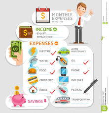 Business Travel Expenses Template Monthly Expenses Template Stock Vector Image 55495282